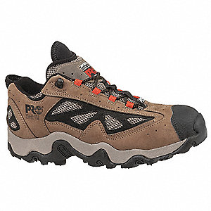 Men's Hiking Shoes, Steel Toe Type, Leather/Mesh Upper Material, Tan, Size 10W