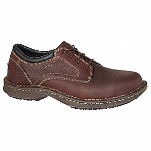 Men's Work Shoes, Steel Toe Type, Leather Upper Material, Brown, Size 9W