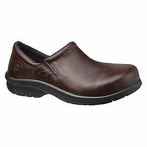 Women's Work Shoes, Alloy Toe Type, Leather Upper Material, Brown, Size 9W
