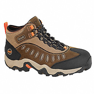 "4-1/2""H Men's Hiking Boots, Steel Toe Type, Leather/Mesh Upper Material, Brown, Size 7-1/2W"