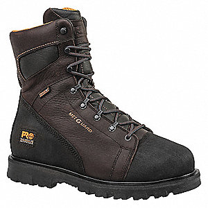 "8""H Men's Work Boots, Alloy Toe Type, Leather Upper Material, Brown, Size 10-1/2W"