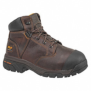 "6""H Unisex Work Boots, Composite Toe Type, Leather Upper Material, Brown, Size 9-1/2W"