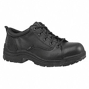 Women's Work Shoes, Alloy Toe Type, Leather Upper Material, Black, Size 7W