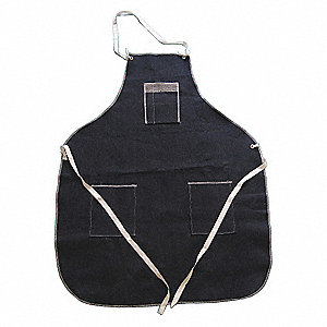 "Disposable Bib Apron, Navy Blue, 36"" Length, 28"" Width, Denim Material, EA 1"