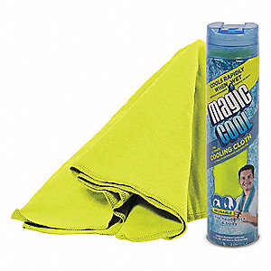"Cooling Towel, 80% Polyester/20% Nylon, Yellow, 8""L x 30""W,1 EA"