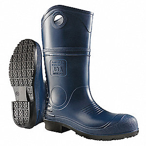 "16""H Men's Boots, Plain Toe Type, PVC Upper Material, Blue, Size 8"