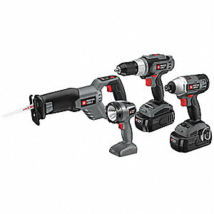 Cordless Combination Kit, Voltage 18.0 NiCd, Number of Tools 4