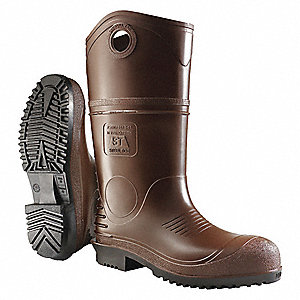 "10""H Men's Boots, Plain Toe Type, PVC Upper Material, Brown, Size 5"