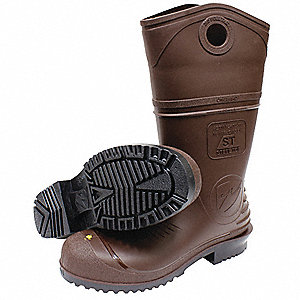 "13""H Men's Knee Boots, Steel Toe Type, PVC Upper Material, Brown, Size 14"