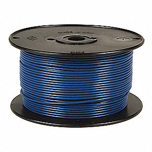 Primary Automotive Wire,  Number of Conductors 1,  12 AWG,  PVC,  500 ft.,  Blue