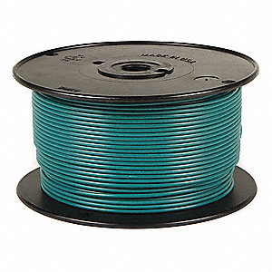 Primary Automotive Wire,  Number of Conductors 1,  18 AWG,  Cross-linked PE,  100 ft.,  Green