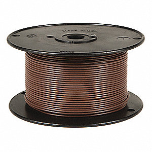 Primary Automotive Wire,  Number of Conductors 1,  16 AWG,  PVC,  100 ft.,  Brown