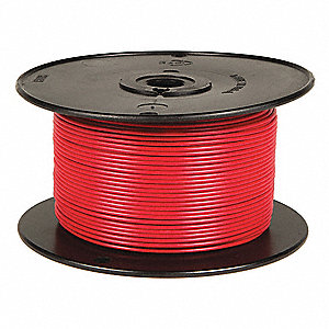 Primary Automotive Wire,  Number of Conductors 1,  14 AWG,  PVC,  100 ft.,  Red