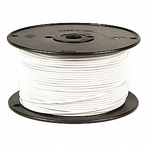 Primary Automotive Wire,  Number of Conductors 1,  12 AWG,  PVC,  500 ft.,  White