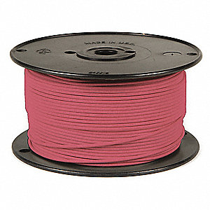 Primary Automotive Wire,  Number of Conductors 1,  14 AWG,  PVC,  100 ft.,  Pink