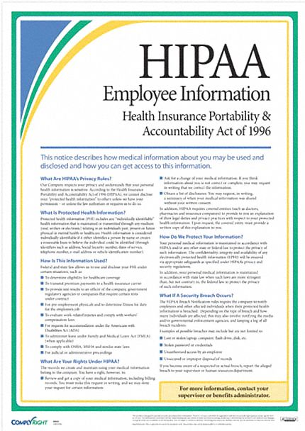 Employee Information Poster Healthcare Labor Law, English