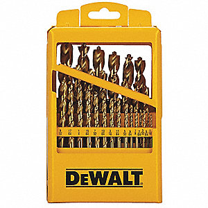 29-Pc. Pilot Point Drill Bit Set, 135°, High Speed Steel, Round Shank Type