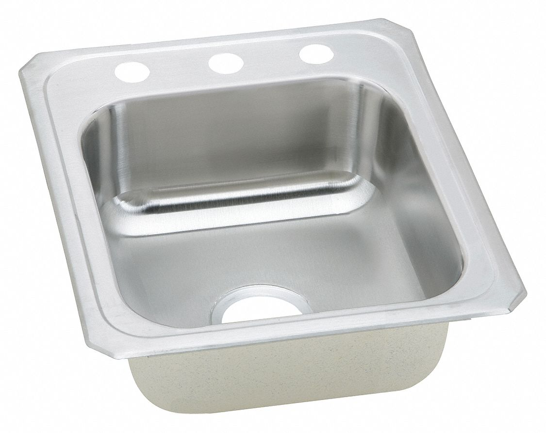 Elkay type 304 stainless top mount kitchen sink without faucet 14 x 15 3 4 bowl size 34j910cr17213 grainger