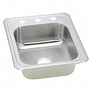"Type 304 Stainless Top Mount Kitchen Sink Without Faucet, 14"" x 15-3/4"" Bowl Size"