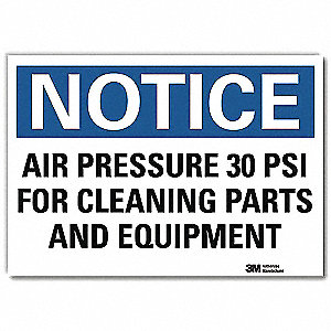 "Notice, Vinyl, 10"" x 14"", Adhesive Surface, Engineer"