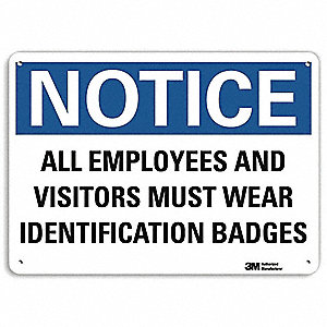 "Employees and Visitors, Notice, Recycled Aluminum, 10"" x 14"", With Mounting Holes, Engineer"