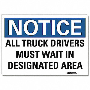 "Vehicle or Driver Safety, Notice, Vinyl, 10"" x 14"", Adhesive Surface, Engineer"