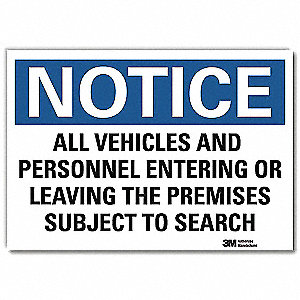 "Security and Surveillance, Notice, Vinyl, 10"" x 14"", Adhesive Surface, Engineer"