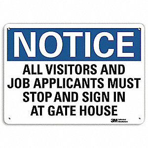 "Employees and Visitors, Notice, Recycled Aluminum, 7"" x 10"", With Mounting Holes, Engineer"