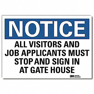 "Employees and Visitors, Notice, Vinyl, 5"" x 7"", Adhesive Surface, Engineer"