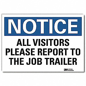 "Employees and Visitors, Notice, Vinyl, 10"" x 14"", Adhesive Surface, Engineer"