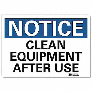 "Machine and Operational, Notice, Vinyl, 7"" x 10"", Adhesive Surface, Engineer"