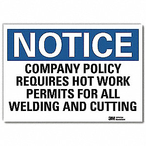 "Welding Hazard, Notice, Vinyl, 7"" x 10"", Adhesive Surface, Engineer"