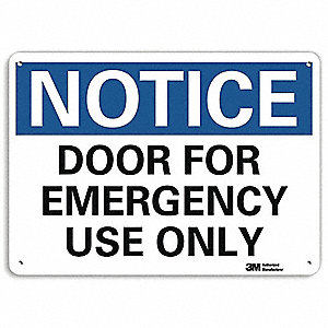 "Door Instruction, Notice, Recycled Aluminum, 10"" x 14"", With Mounting Holes, Engineer"