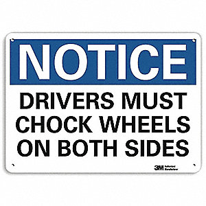 "Chock Wheels, Notice, Aluminum, 10"" x 14"", With Mounting Holes, Engineer"
