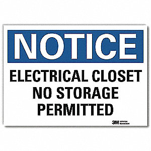 "Electrical Hazard, Notice, Vinyl, 7"" x 10"", Adhesive Surface, Engineer"