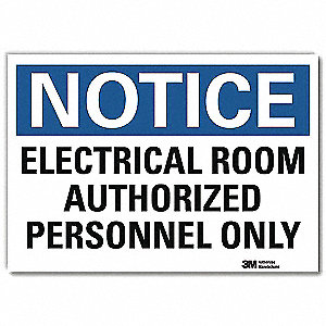 "Electrical Hazard, Notice, Vinyl, 10"" x 14"", Adhesive Surface, Engineer"