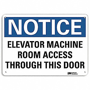 "Elevator Hazard, Notice, Recycled Aluminum, 7"" x 10"", With Mounting Holes, Engineer"