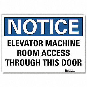 "Elevator Hazard, Notice, Vinyl, 5"" x 7"", Adhesive Surface, Engineer"