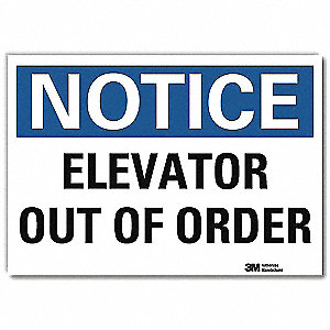 "Elevator Hazard, Notice, Vinyl, 7"" x 10"", Adhesive Surface, Engineer"