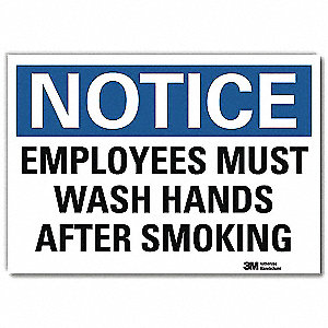 "Wash Hands, Notice, Vinyl, 5"" x 7"", Adhesive Surface, Engineer"