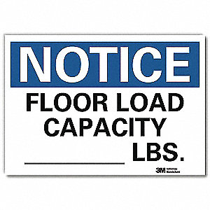 "Load Limit, Notice, Vinyl, 5"" x 7"", Adhesive Surface, Engineer"