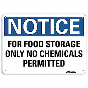 "Chemical, Gas or Hazardous Materials, Notice, Aluminum, 10"" x 14"", With Mounting Holes, Engineer"