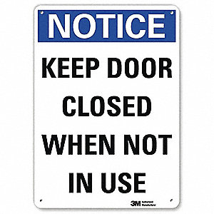 "Door Instruction, Notice, Recycled Aluminum, 14"" x 10"", With Mounting Holes, Engineer"