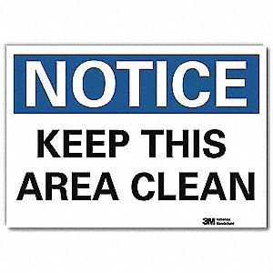 "Cleaning and Maintenance, Notice, Vinyl, 7"" x 10"", Adhesive Surface, Engineer"