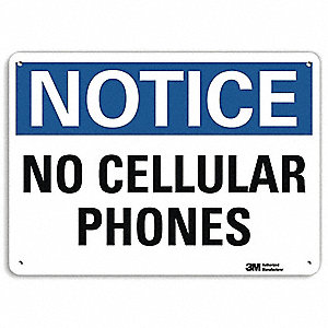 "Phone Usage, Notice, Aluminum, 10"" x 14"", With Mounting Holes, Engineer"
