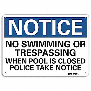 "Pool Hazard, Notice, Recycled Aluminum, 10"" x 14"", With Mounting Holes, Engineer"