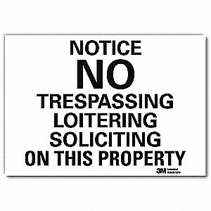"Trespassing and Property, Notice, Vinyl, 5"" x 7"", Adhesive Surface, Engineer"