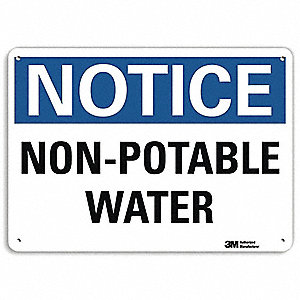"Potable Water, Notice, Aluminum, 10"" x 14"", With Mounting Holes, Engineer"