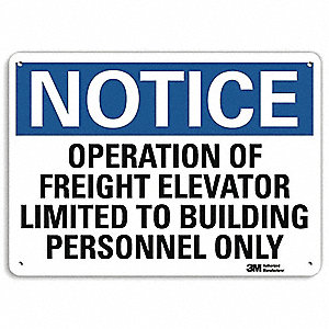 "Elevator Hazard, Notice, Aluminum, 7"" x 10"", With Mounting Holes, Engineer"