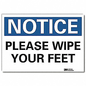 "Facility, Notice, Vinyl, 7"" x 10"", Adhesive Surface, Engineer"